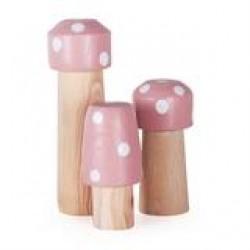 Jogo de 3  Cogumelos Palito Rosa