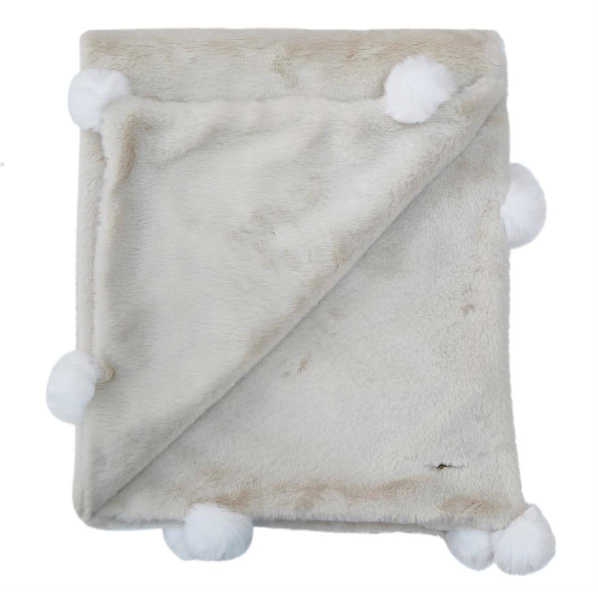 Cobertor Bebê Luxo Pompom - Offwhite