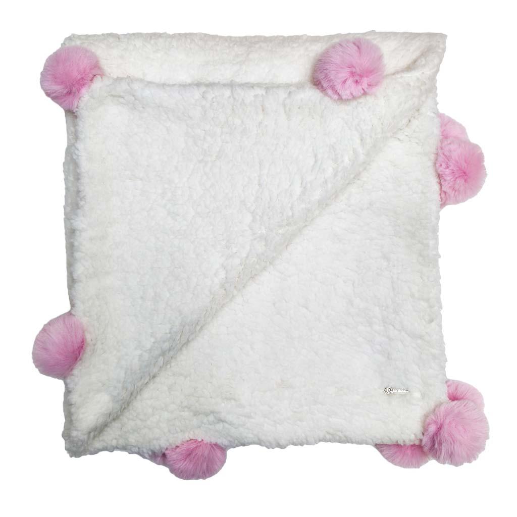 Cobertor Bebê Luxo Pompom - Rosa