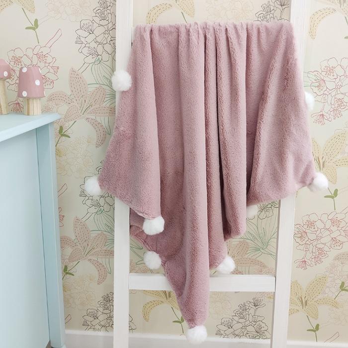 Cobertor Bebê Luxo Pompom - Rose