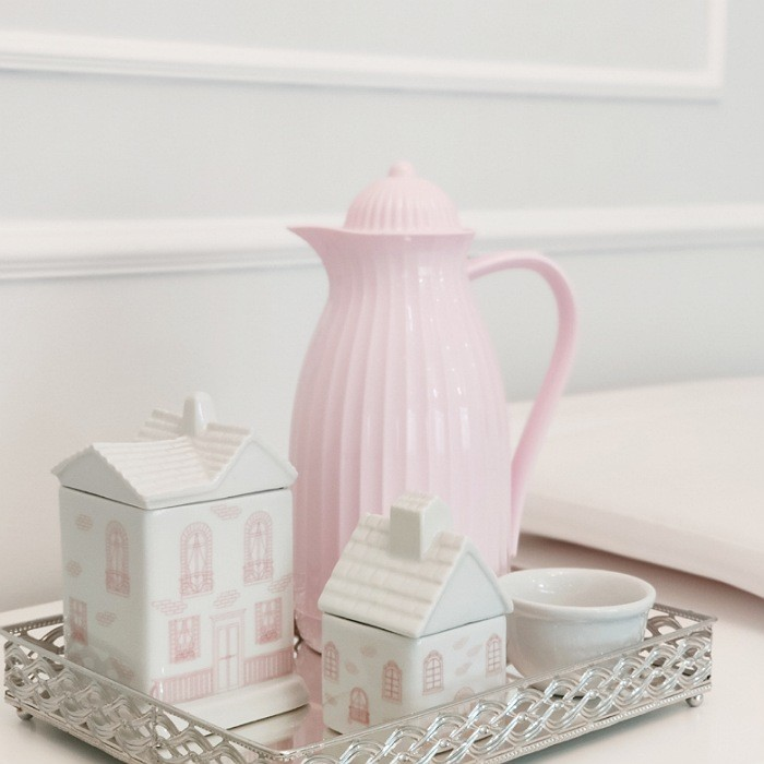 Kit Higiene 3 Peças Casinha Branco com Rosa