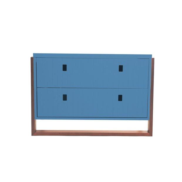 Linha Carmel - Mesa de Cabeceira  2 em 1 - Azul com Mel