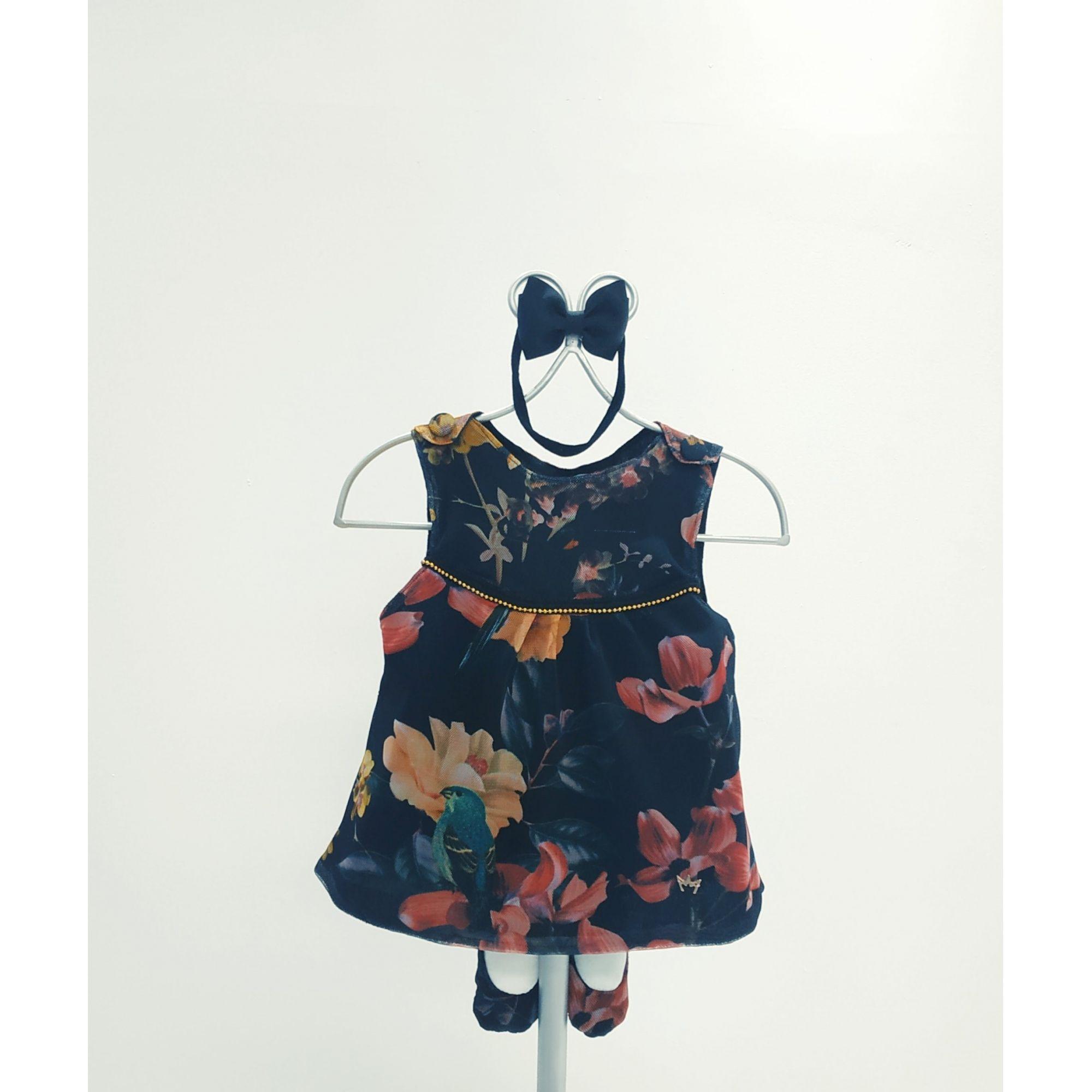 Vestido Anabel Preto Florido - Com Faixa