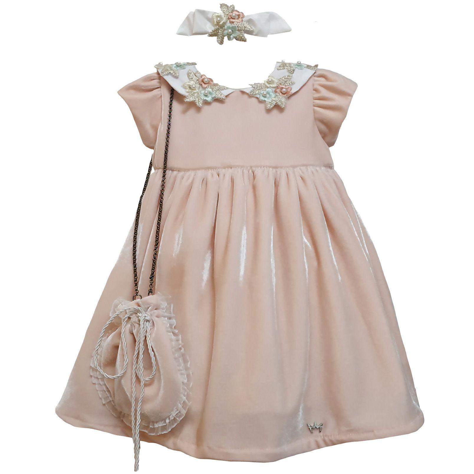 Vestido Lila Veludo Perolas Mais Bolsa - Rosa