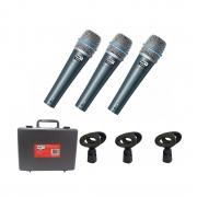 Kit com 3 Microfone Dinâmico MXT BTM-57A c/ maleta e cachimbo