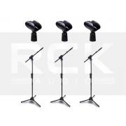 Kit com 3 Suportes Pedestal para Microfone IBOX SMMax + 3 Cachimbos