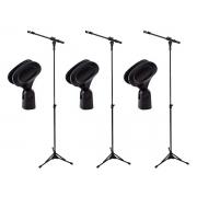 Kit com 3 Suportes Pedestal para Microfone RMV PSU 090 + 3 Cachimbos
