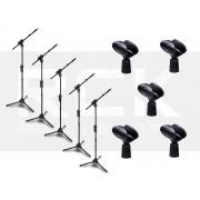 Kit com 5 Suportes Pedestal para microfone IBOX SMMax + 5 Cachimbos