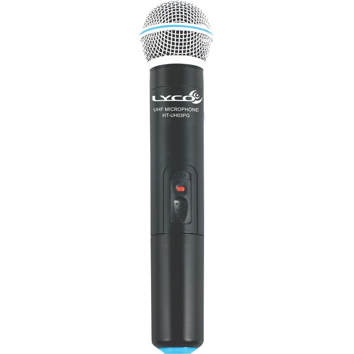 Lyco UH04PG-MHLI Microfone sem fio duplo - Mão, Lapela, Headset e Instrumento.