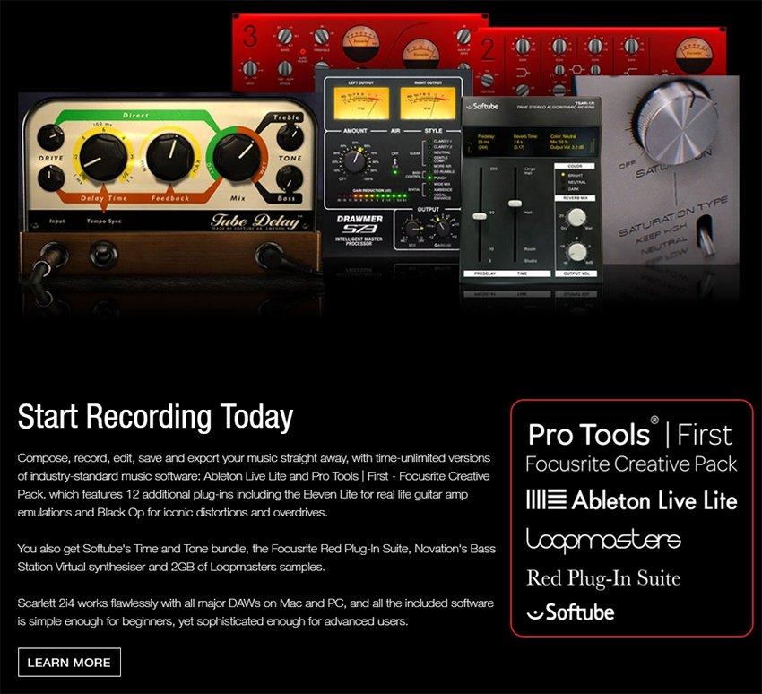 Focusrite Scarlett 2i4 - 2a Geração Interface de gravação USB e Midi