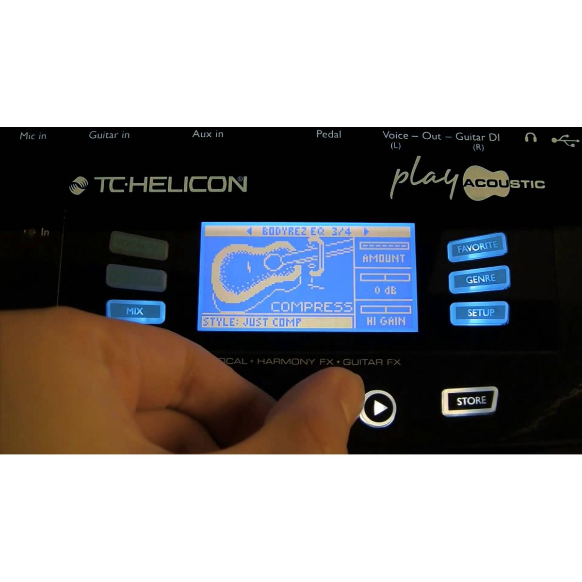 Pedaleira TC Helicon Play Acoustic para violão