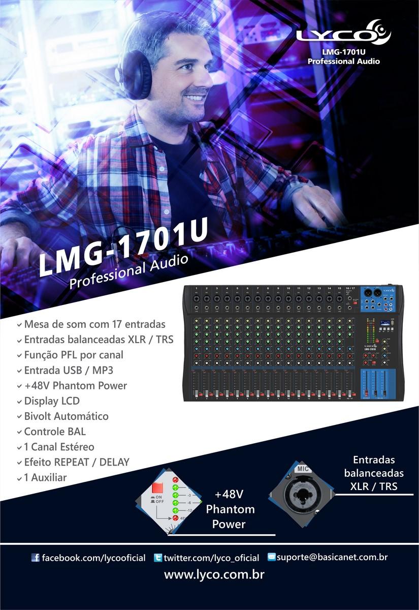 Mesa de som Lyco LMG-1701U - 17 canais