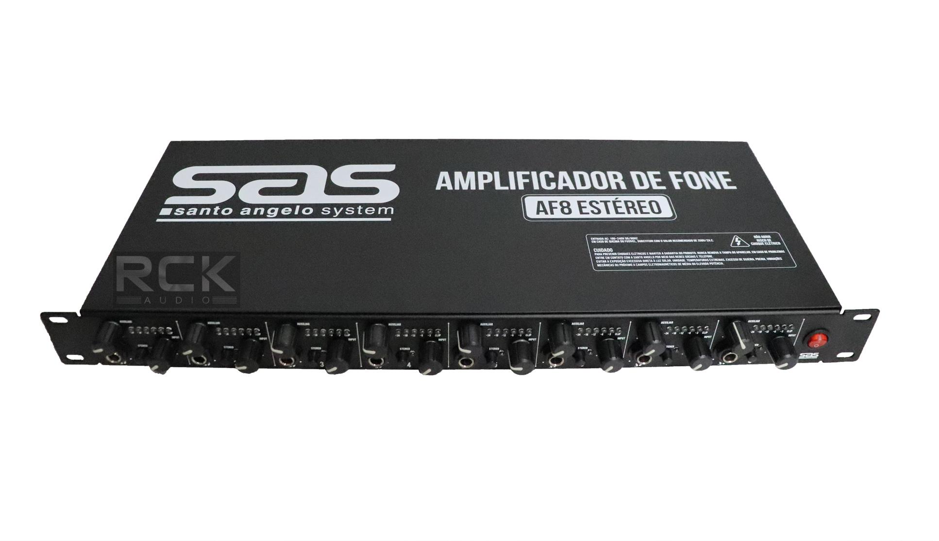 Amplificador de Fone Santo Angelo AF8 Preto Estéreo