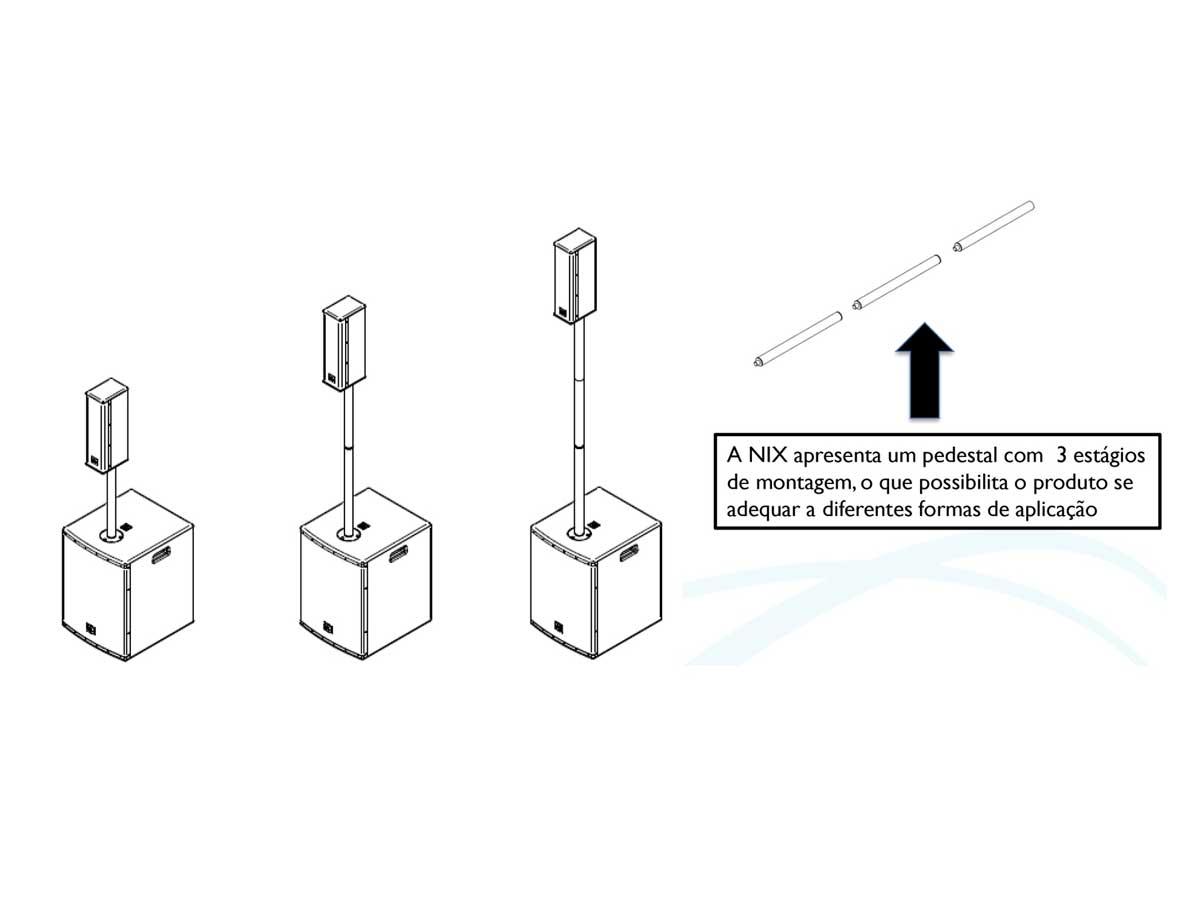 """Caixa de Som Profissional Portátil Ativa Sistema Completo JBL Nix One 400w RMS 12"""""""