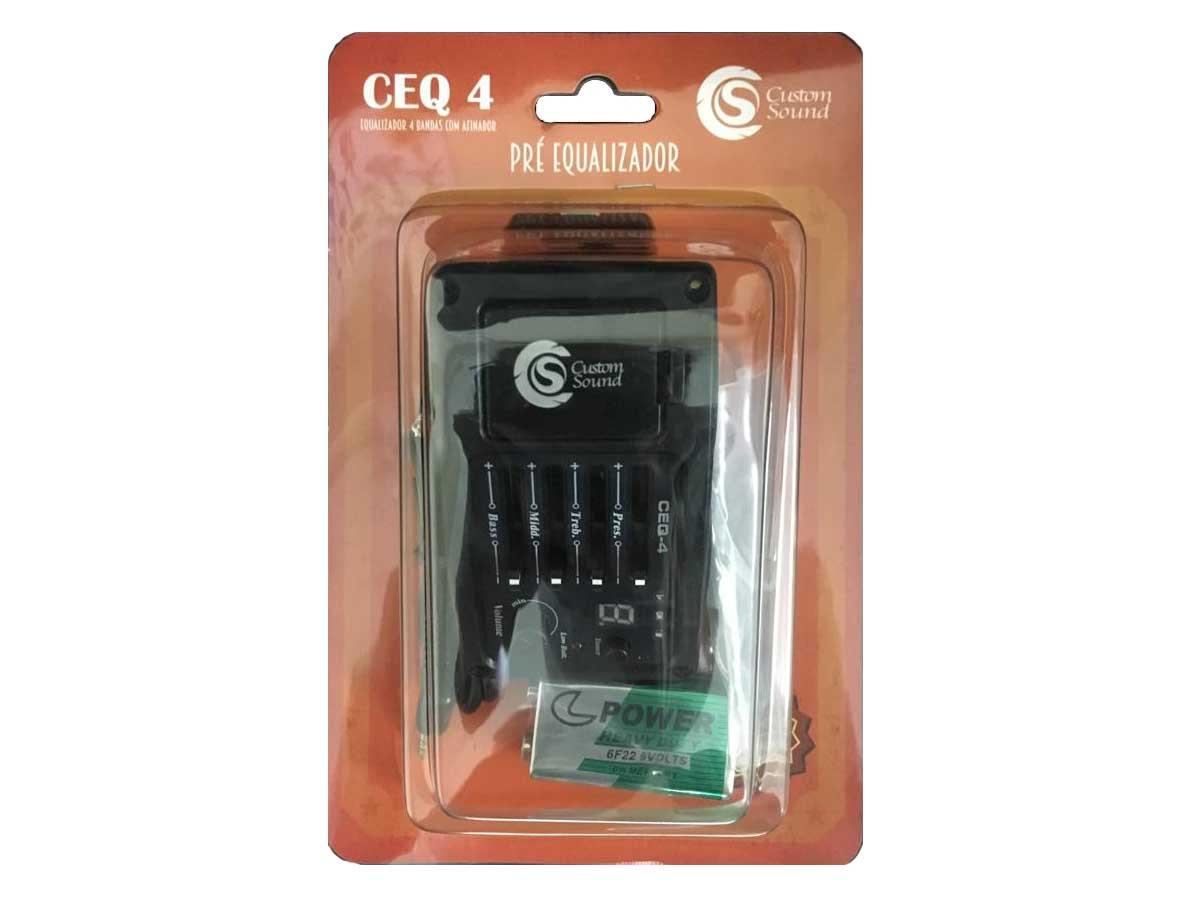 Captador para Violão com Pré, Equalizador e Afinador Custom Sound CEQ 4