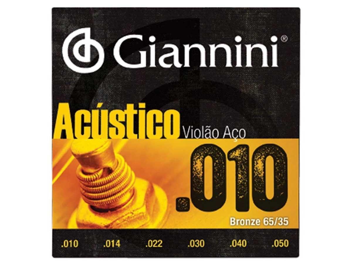 Encordoamento Giannini Acústico para Violão .010 Bronze GESWAM
