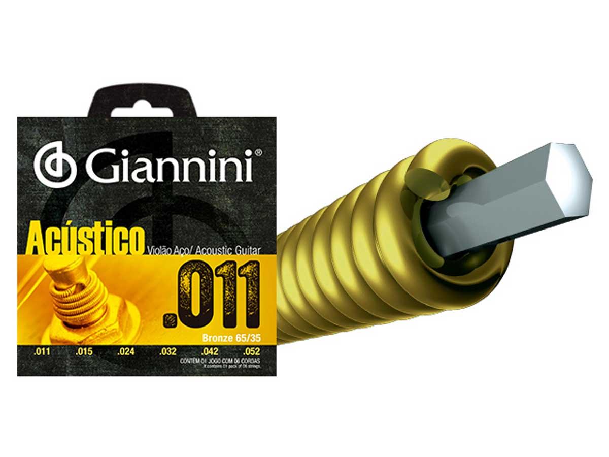 Encordoamento Giannini Acústico para Violão .011 Bronze GESPW