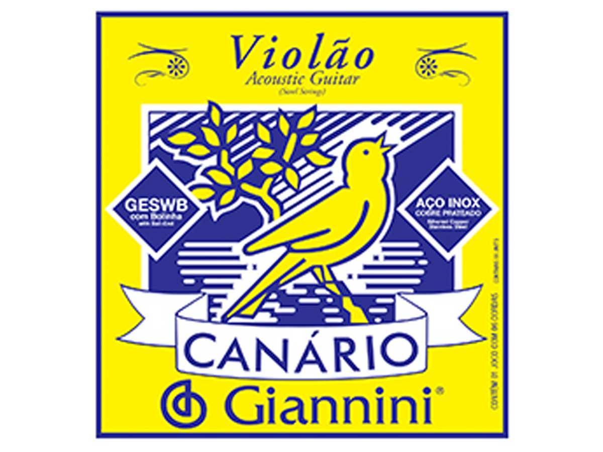 Encordoamento Giannini Canário para Violão Aço .011 com Bolinha GESWB