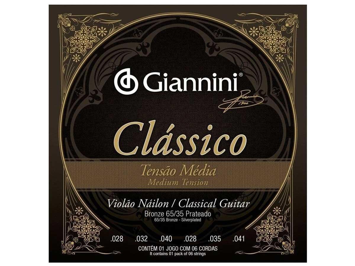 Encordoamento Giannini Clássico para Violão Nylon Tensão Média GENWPM