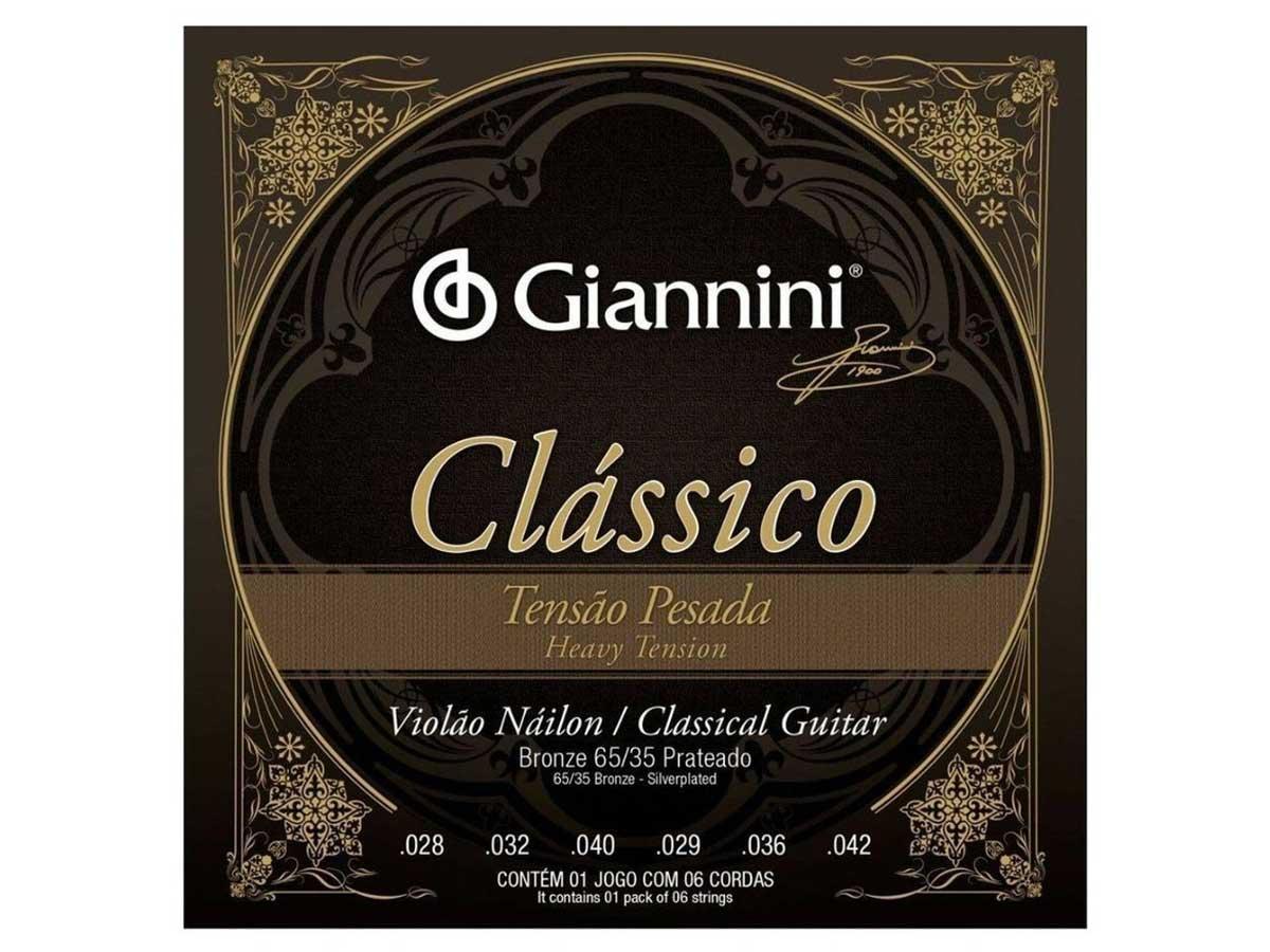 Encordoamento Giannini Clássico para Violão Nylon Tensão Pesada GENWPA