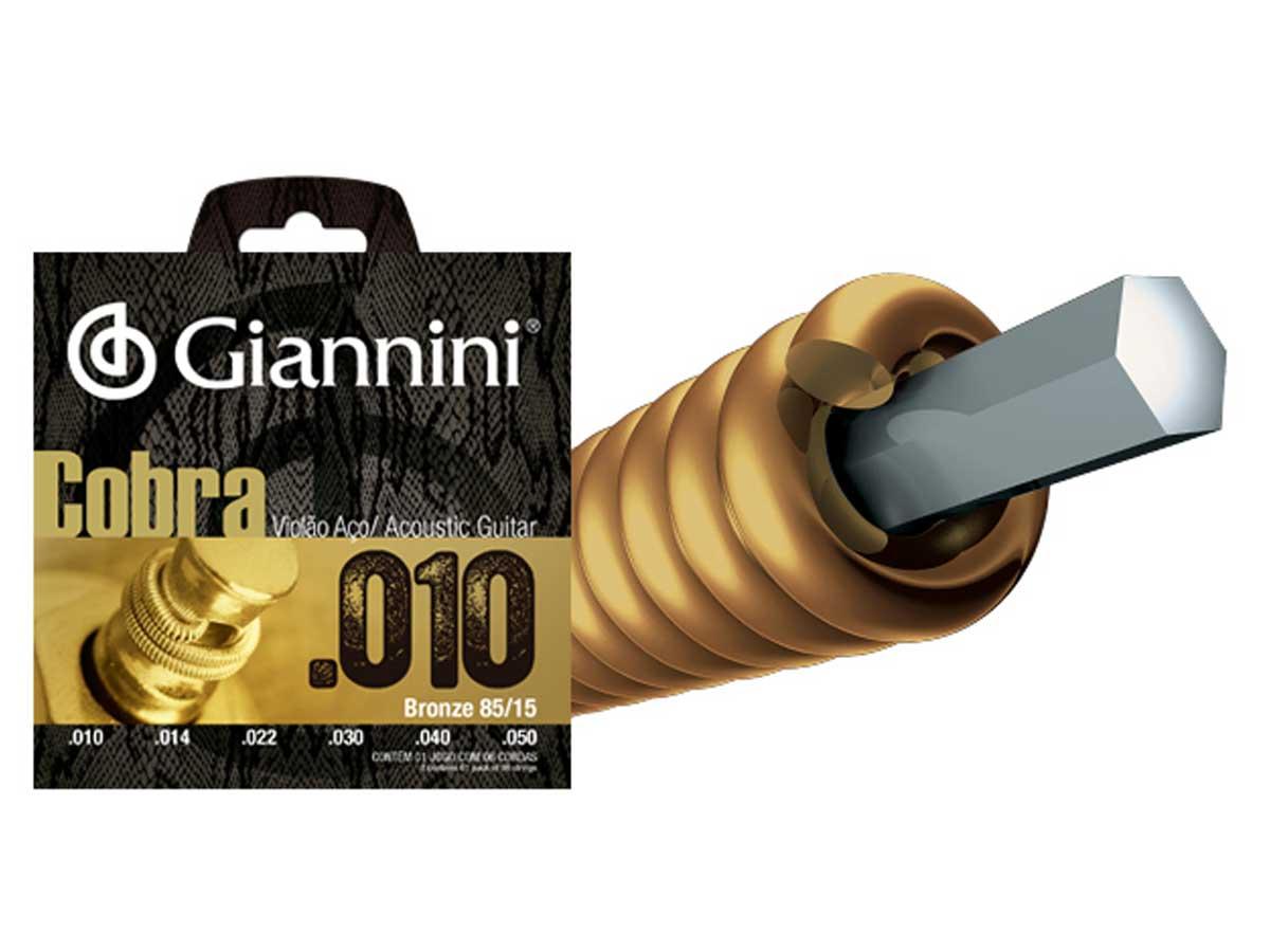 Encordoamento Giannini Cobra para Violão .010 Bronze GEEFLE