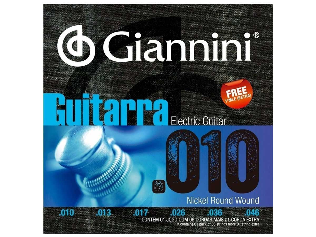 Encordoamento Giannini para Guitarra .010 Níquel GEEGST10