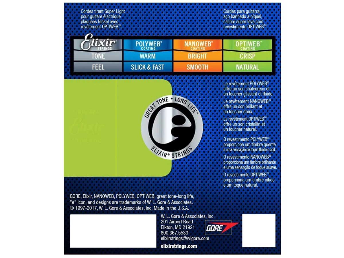 Encordoamento Guitarra Elixir Optiweb 009 042 Super Light 19002