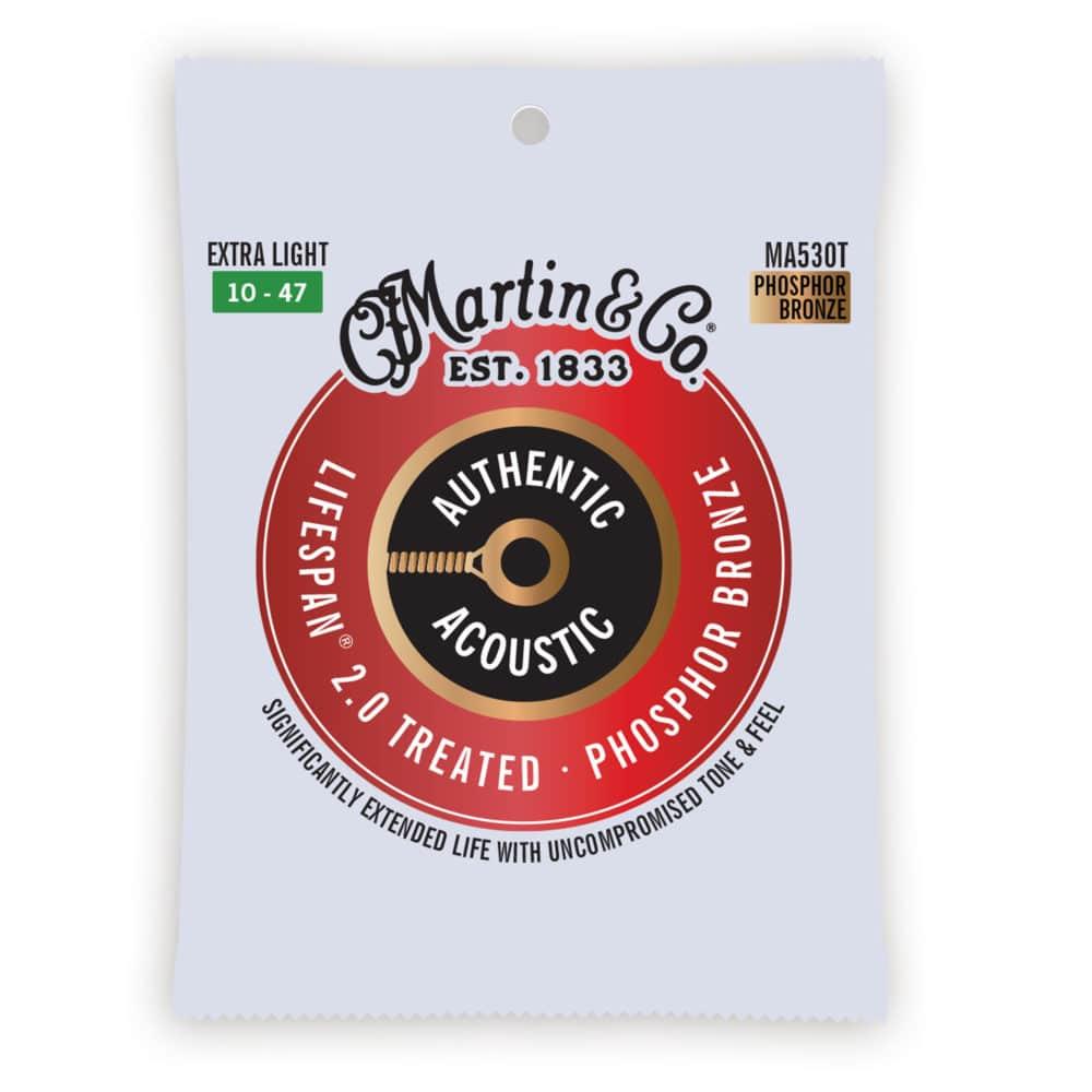 Encordoamento Martin MA530T para Violão Aço .010 .047 Phosphor Bronze Extra Light