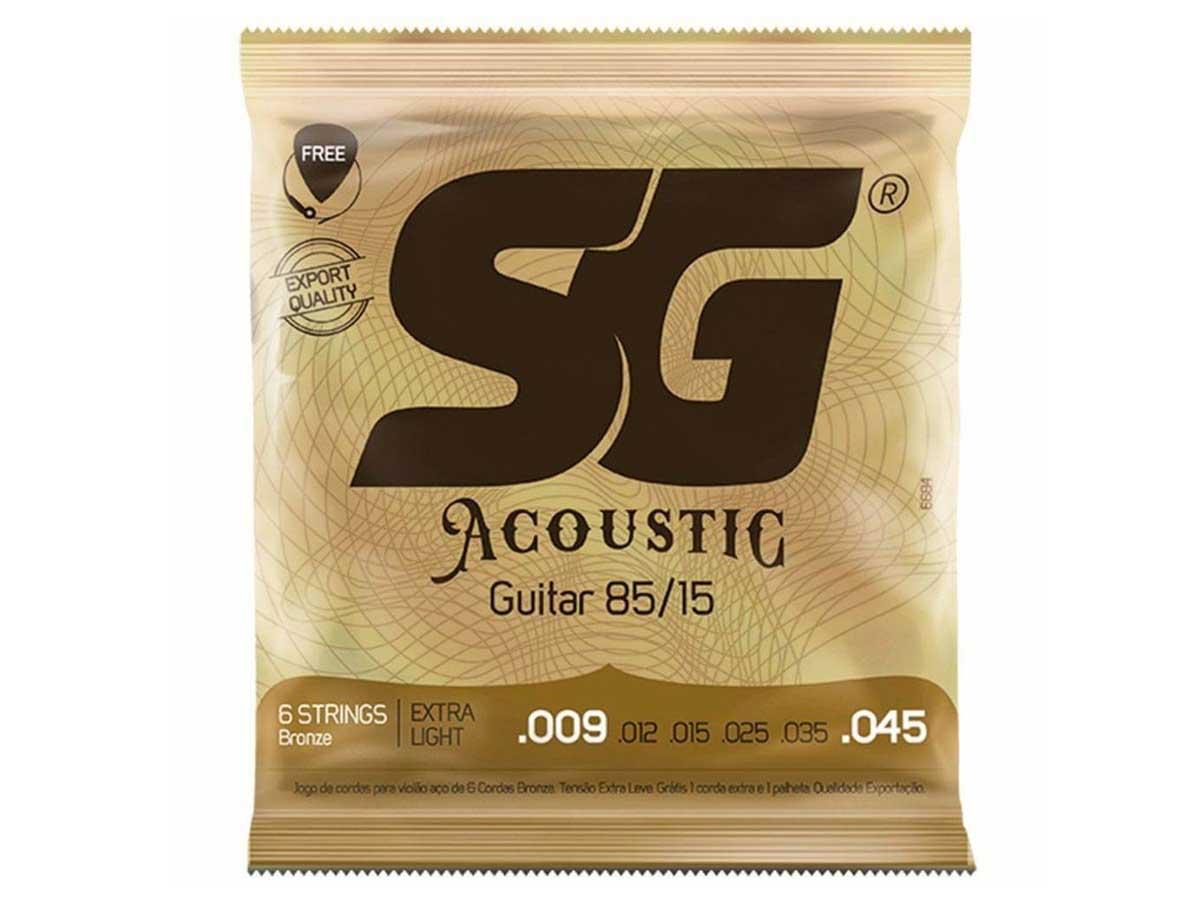 Encordoamento para Violão SG Strings Aço 009 Bronze