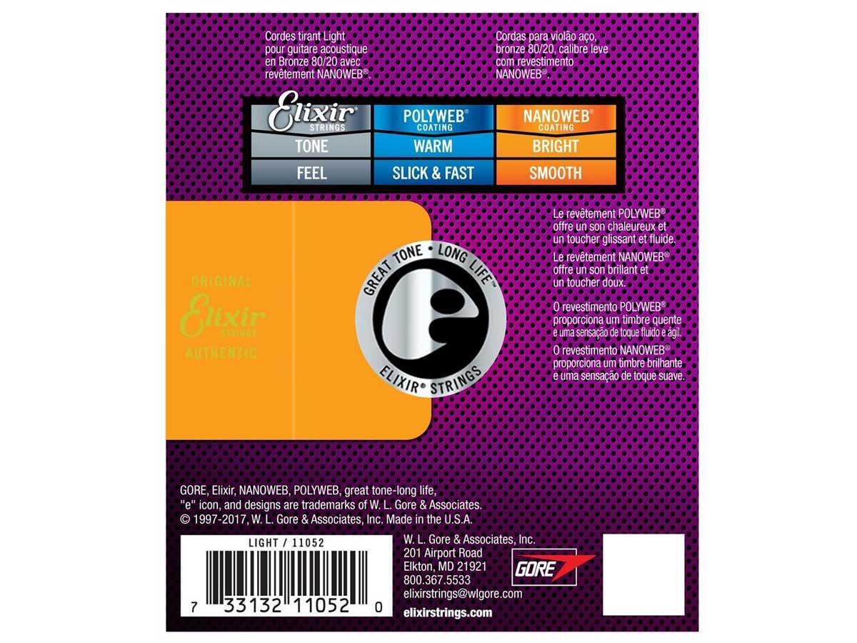 Encordoamento Violão Elixir Nanoweb 012 053 Light 11052
