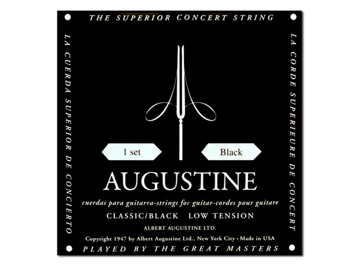 Encordoamento Violão Nylon Augustine Classic Black Tensão Leve