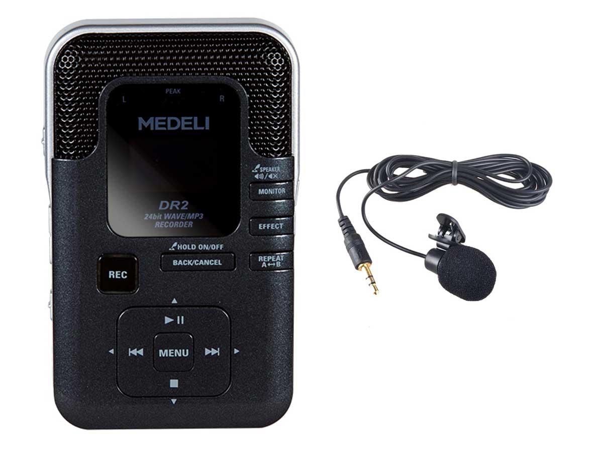 Gravador de Voz Medeli DR2 com Microfone de Lapela