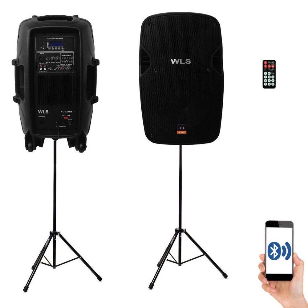 Kit Caixa Ativa + Passiva + Pedestal WLS 12 Com Bluetooth