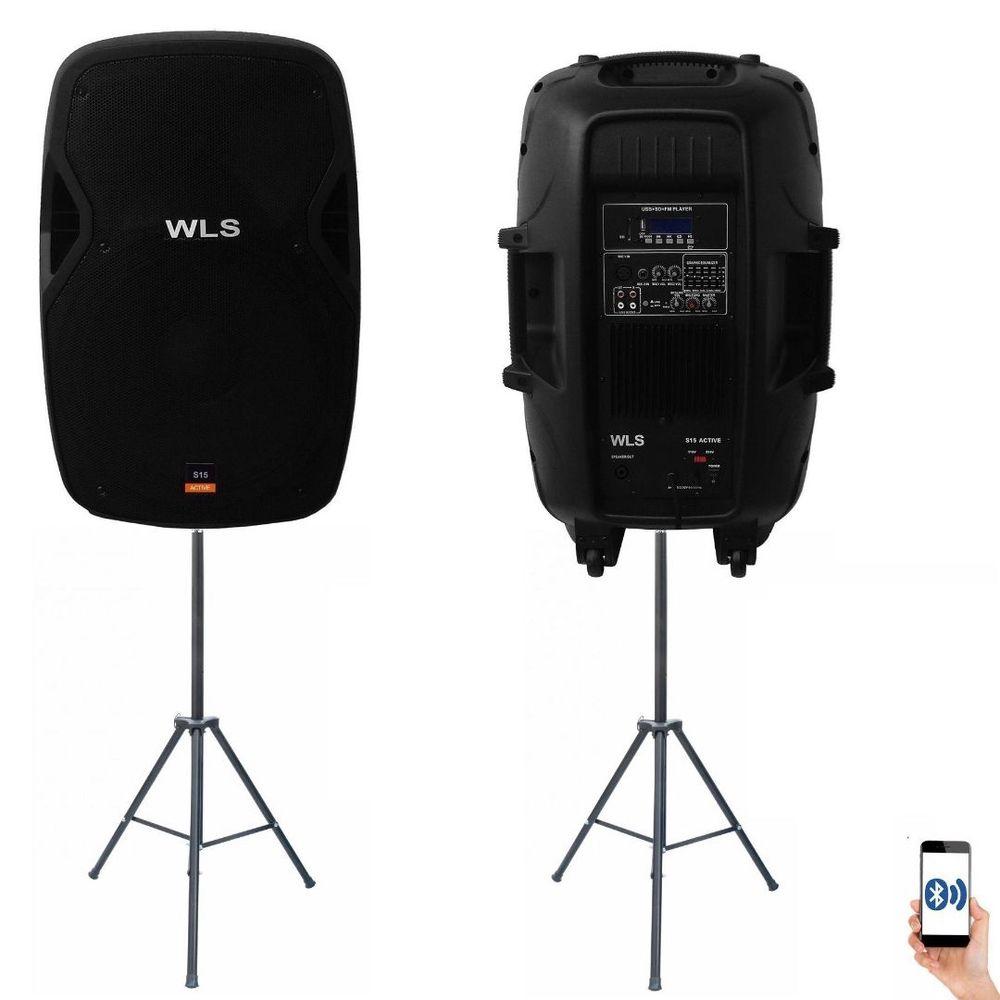 Kit Caixa Ativa + Passiva + Pedestal WLS 15 Com Bluetooth