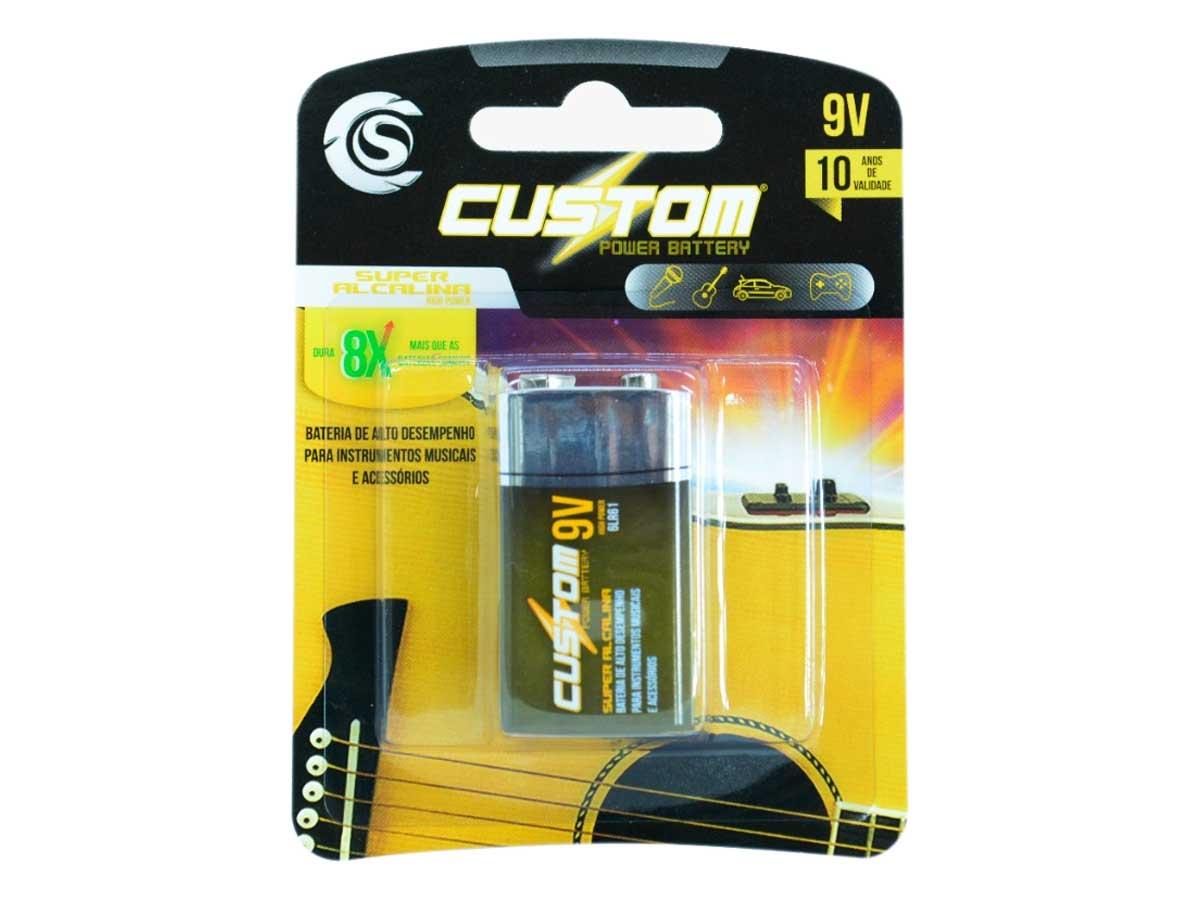 Kit com 3 Baterias 9 Volts Custom Sound Power Battery