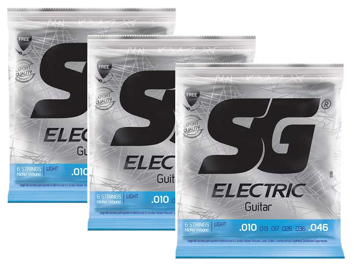 Kit com 3 Encordoamentos para Guitarra SG Strings 010 Níquel