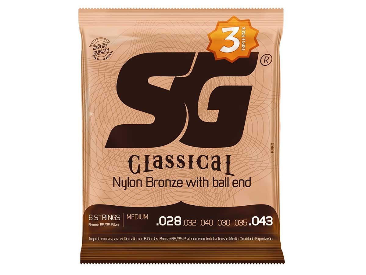 Kit com 3 Encordoamentos para Violão Nylon SG Strings Tensão Média com Bolinha