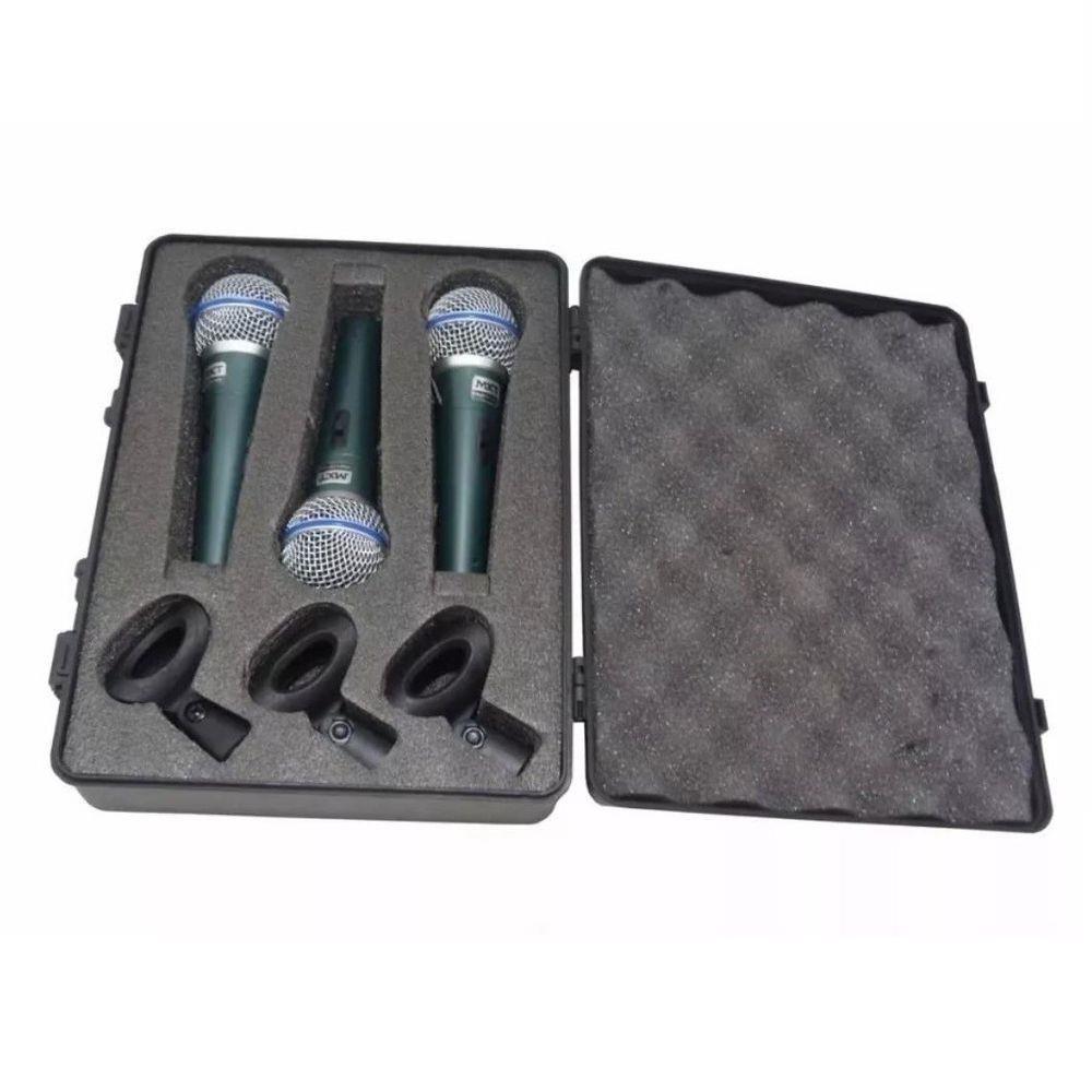 Kit com 3 Microfone Dinâmico BTM-58A c/ maleta e cachimbo