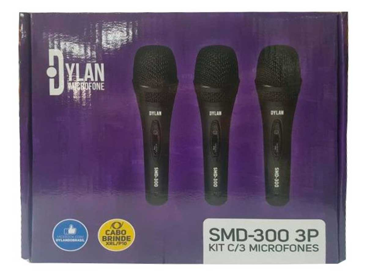 Kit com 3 Microfones Dylan SMD-300 3P + cabo 3m