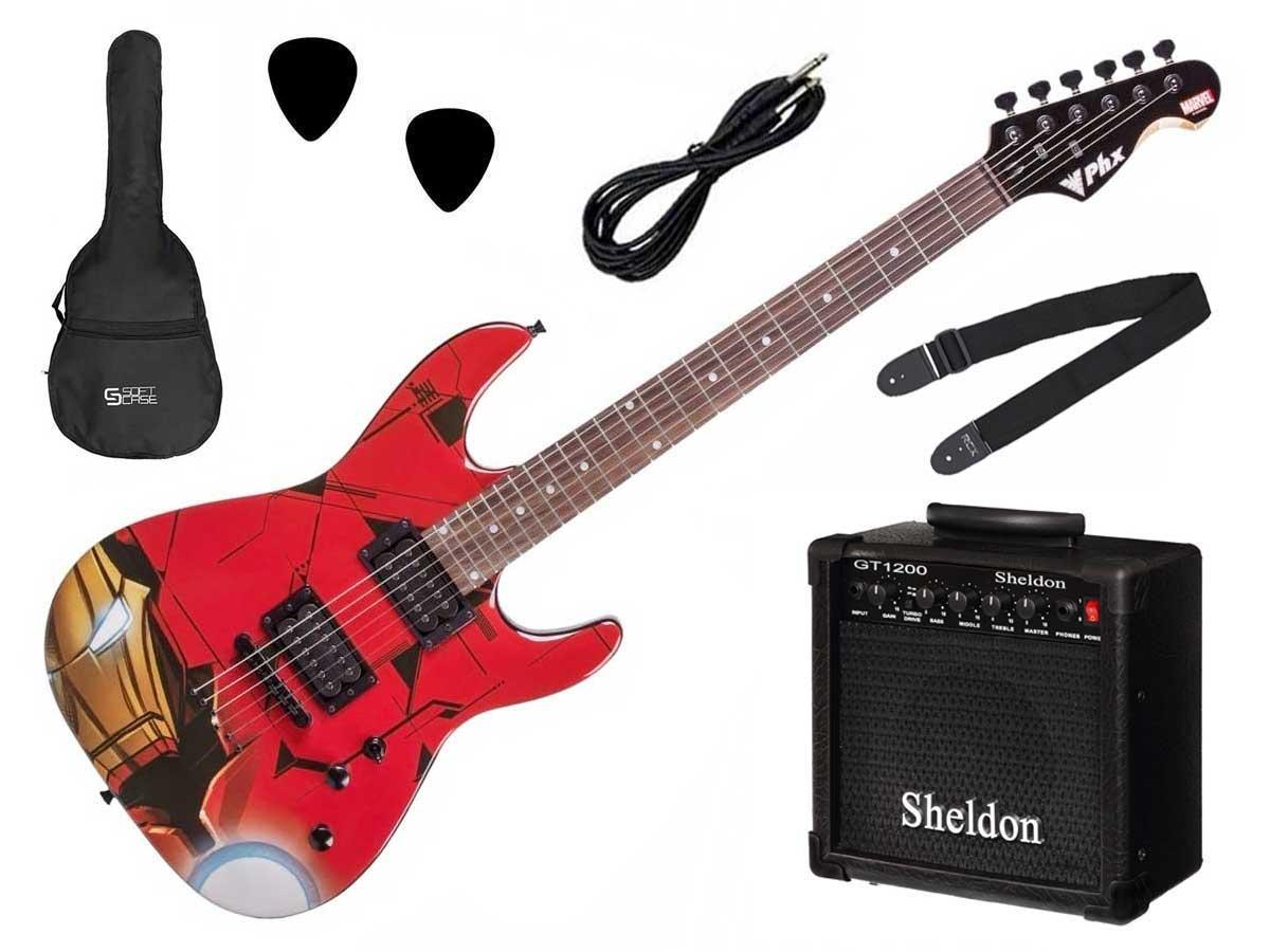 Kit Guitarra PHX Marvel + Amplificador, Capa, Cabo, Correia e Palhetas