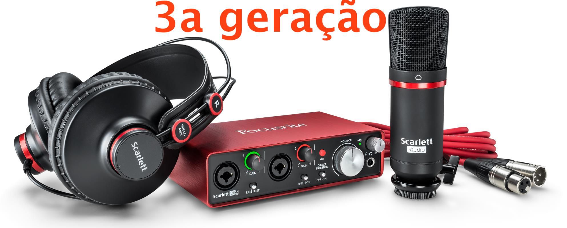 Kit Home Studio Focusrite Scarlett 2i2 Studio - 3a Geração
