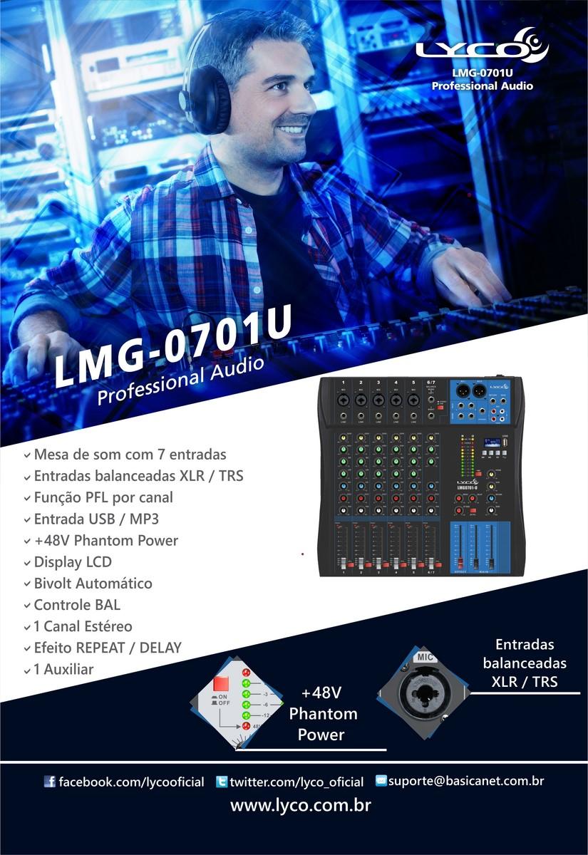 Mesa de som Lyco LMG-0701U - 7 canais