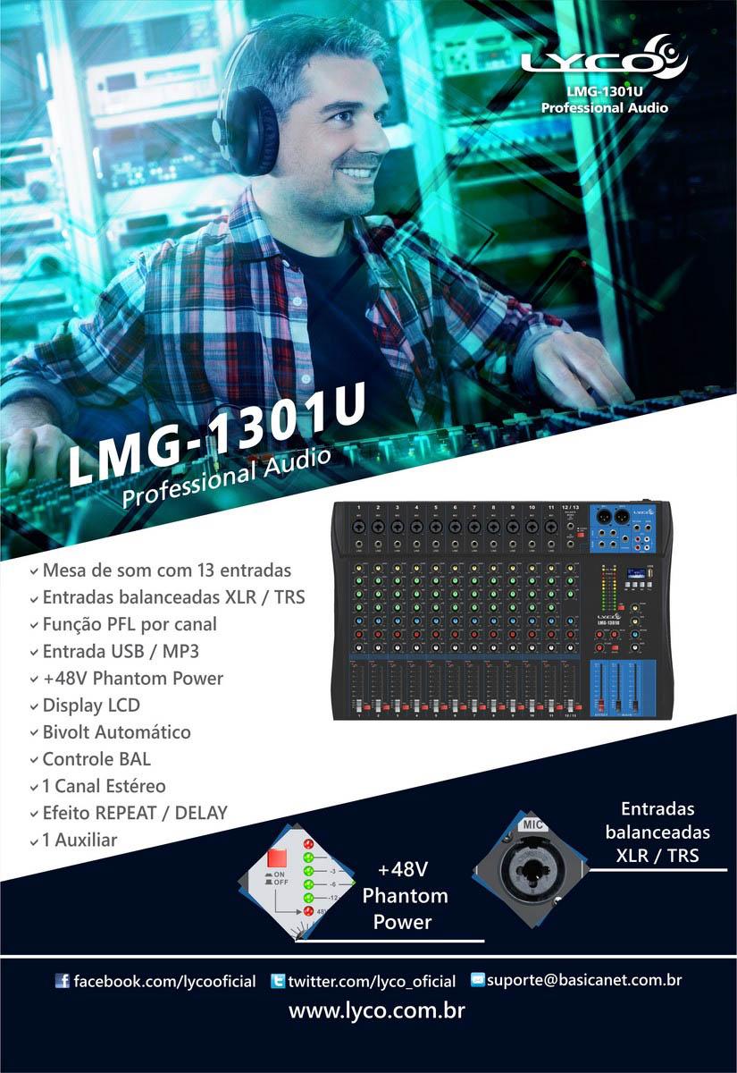 Mesa de som Lyco LMG-1301U - 13 canais