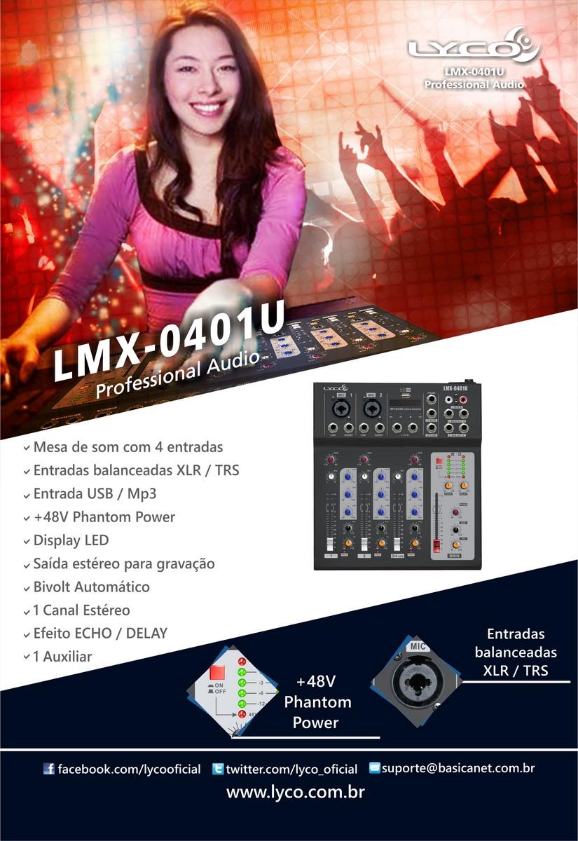 Mesa de som Lyco LMX-0401U - 4 canais