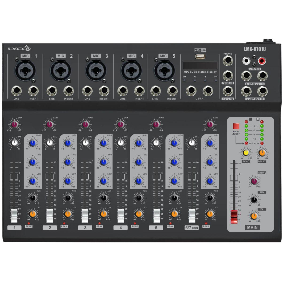 Mesa de som Lyco LMX-0701U - 7 canais