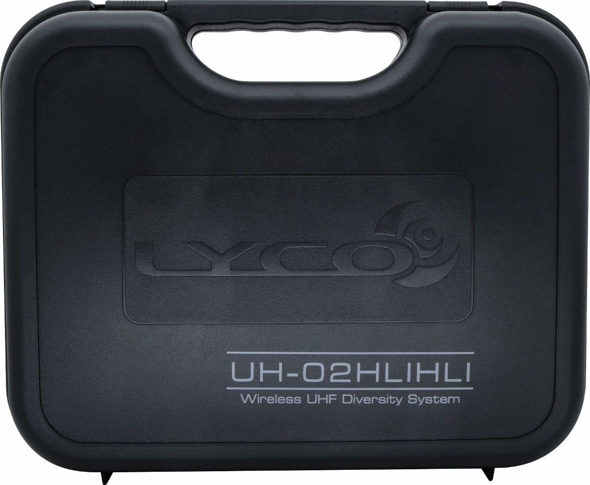 Microfone Sem Fio UHF Duplo Headset, Lapela e Instrumento Lyco UH-02HLIHLI