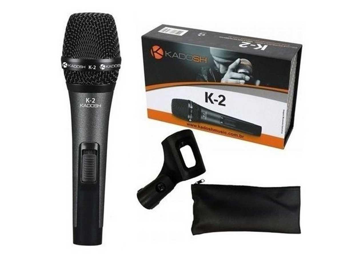 Microfone Kadosh K2 Dinâmico Vocal Com Bag e Cachimbo