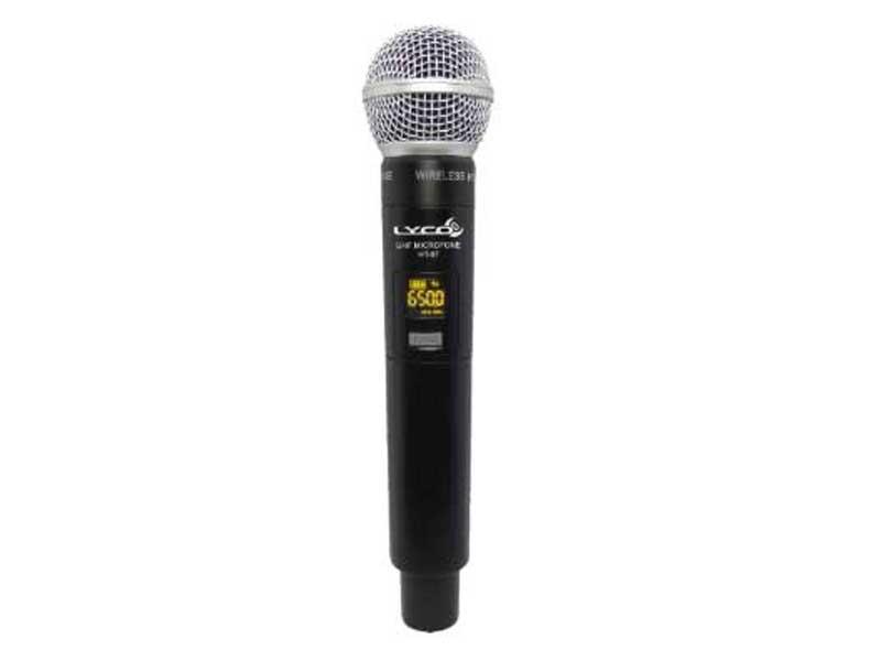 Microfone Sem Fio De Mão Duplo Lyco UH-08MM com 52 frequências UHF