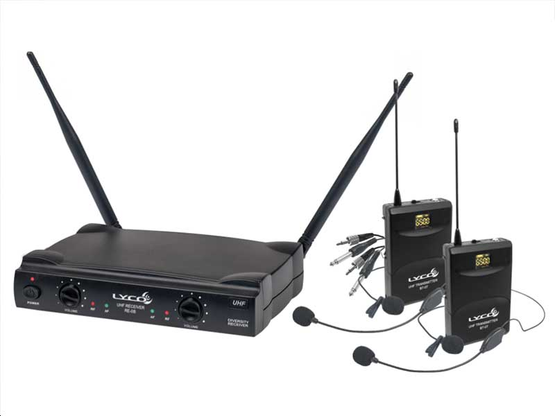 Microfone Sem Fio Duplo Lyco UH-08HLIHLI Headset Lapela Instrumento