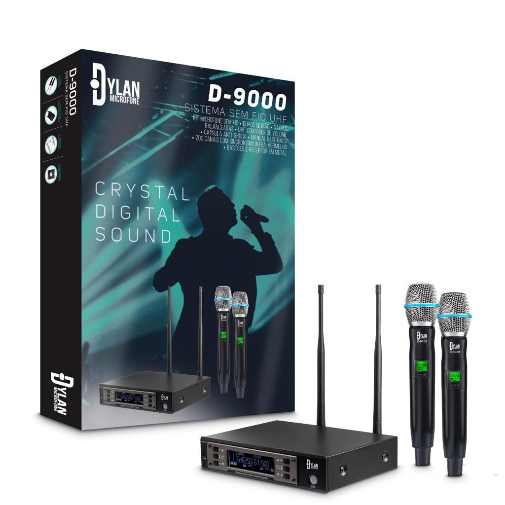 Microfone sem fio duplo profissional Dylan D-9000 UHF 200 canais